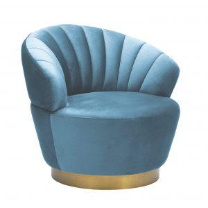 Poltrona Giratoria Shell Lux - Sky Blue Velvet